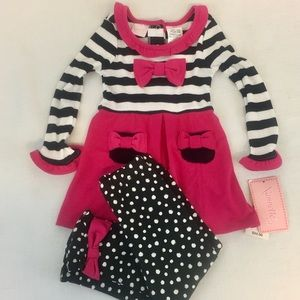 Nannette 24 month 2Pc Black White Pink Bow Outfit
